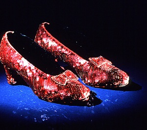 chaussons en Swarovski portés par Judy Garland
